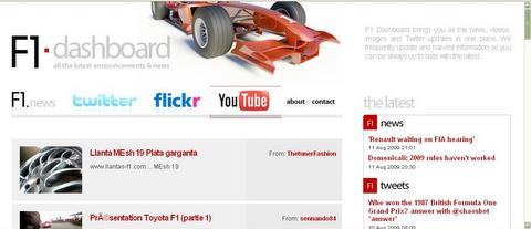 F1 Dashboard screen shot