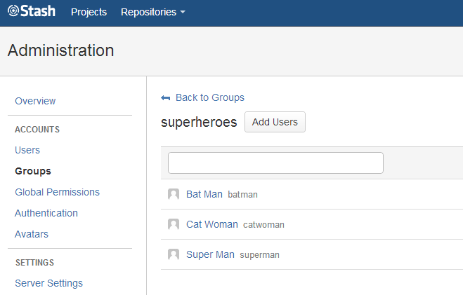 My user group Superheroes setup in Stash