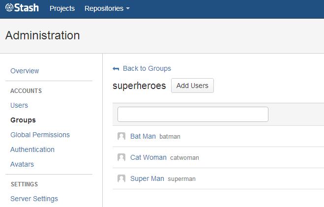 My user group Superheroes setup in Stash